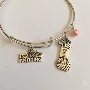 Pink I Love Knitting Yarn Charm Bracelet